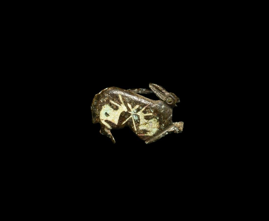 Roman Enamelled Rabbit Brooch with Young
