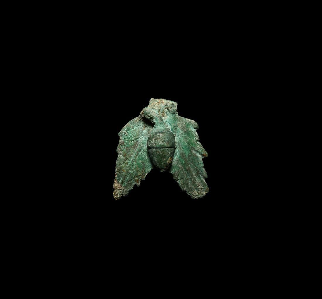 Roman Bronze Acorn and Leaf Decoration