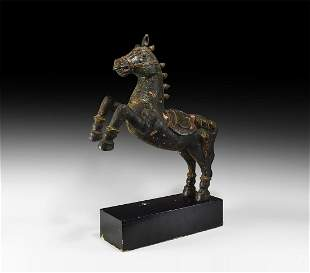 Large Chinese Wooden Rearing Horse