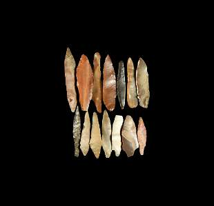 Stone Age Projectile Point and Arrowhead Group