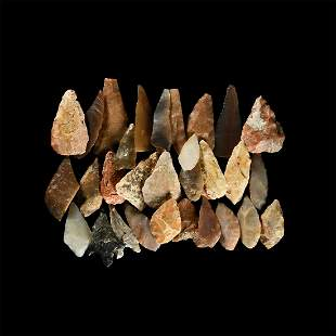 Stone Age Flint Arrowhead Group