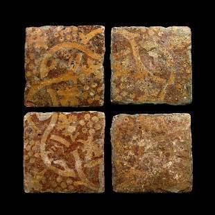Medieval English Glazed Floor Tile Set with Grapevines