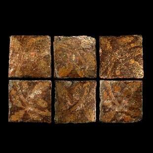 English Glazed Floor Tile Group with Oak Leaf Design