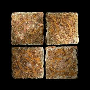 English Glazed Floor Tile Set with Grapevines