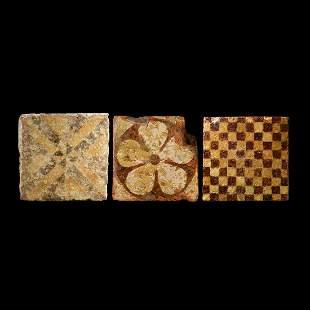 Medieval Heraldic Glazed Floor Tile Group