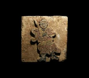Chinese Song Painted Tile with Soldier