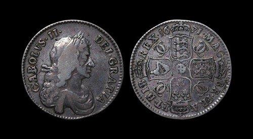 4: Charles II - Halfrown - 1671 TERTIO