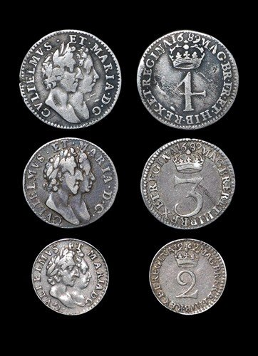 14: William and Mary - Groat, Threepence and Twopence -