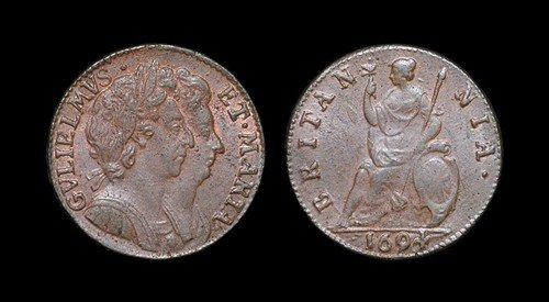 16: William and Mary - Copper Farthing - 1694