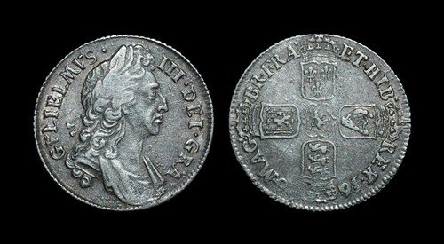 20: William III - Shilling - 1696 - Inverted A for Firs
