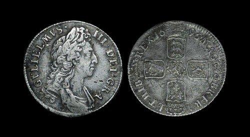 21: William III - Shilling - 1696 - No Ribbon Ties