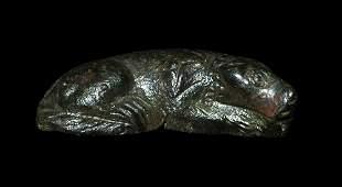 701 Roman  Bronze Sleeping Dog Figurine