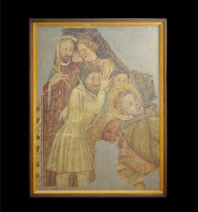 Medieval Painted Fresco Panel