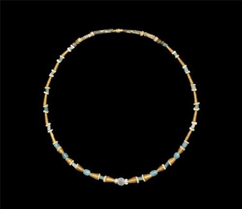 Egyptian Gold and Faience Bead Necklace