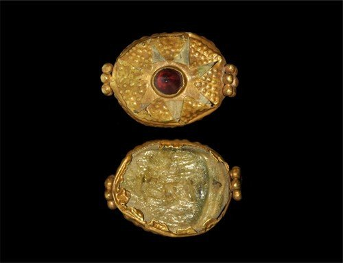 Egyptian Gold Scarab Casing with Garnet