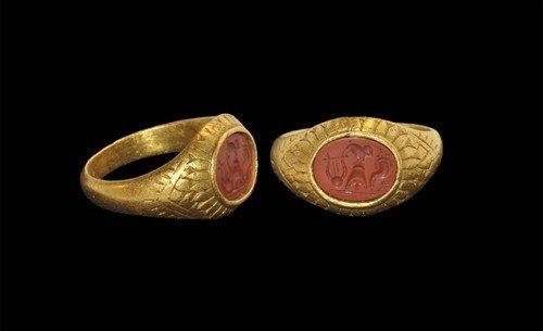 Romano- Egyptian Gold and Jasper Cockrel Intaglio Ring