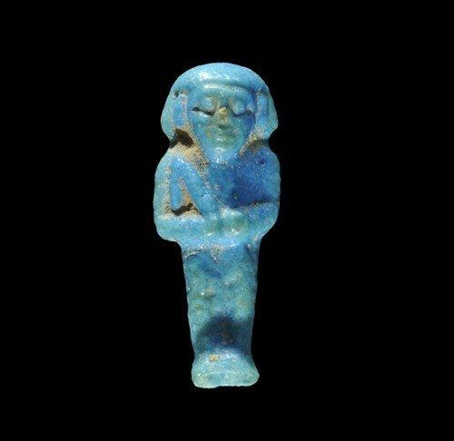 Egyptian Blue Glazed Faience Shabti