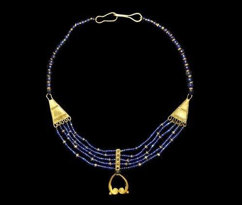 Near Eastern Gold and Lapis Lazuli Mesopotamian Necklac