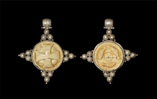 Byzantine Silver and Ivory Cross Pendant