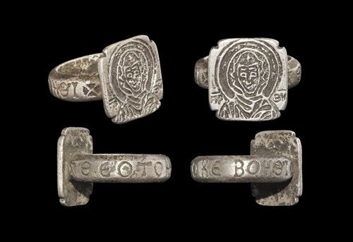 Byzantine Silver 'Mother of God' Figural Ring