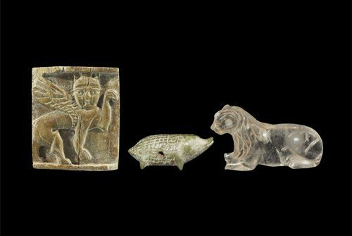Near Eastern Assyrian Carved Bone and Crystal Group