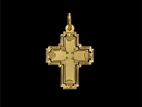 Post Medieval Gold Cross in Gold Frame Pendant