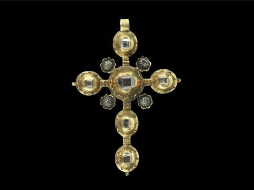 Post Medieval Pink Gold and Diamond Cross Pendant