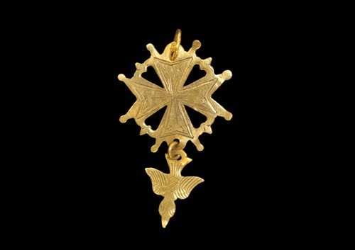 Post Medieval Gold Maltese Cross Pendant with Dove of P