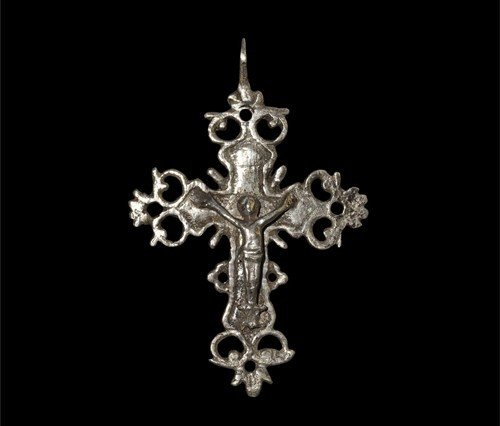 Post Medieval Spanish Silver Openwork Crucifix