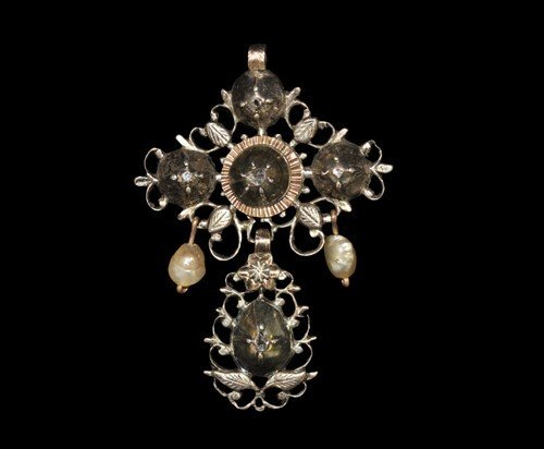 Post Medieval Silver, Gold, Diamond and Pearl Cross