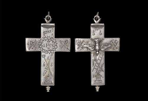 Post Medieval Silver Saint Esprit Reliquary Cross