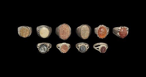 Near Eastern Sassanian Gemstones Set in Bedouin Rings G