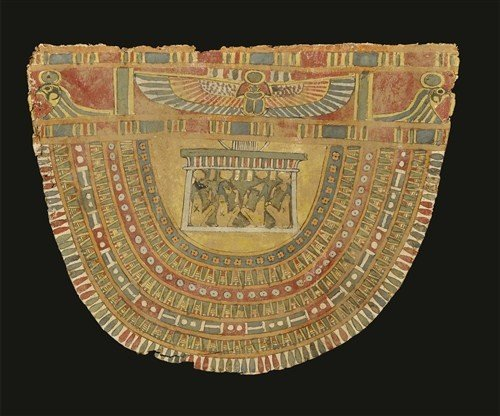 Egyptian Cartonage Panel with Collar and Four Sons of H