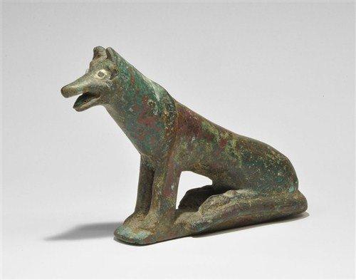 Egyptian Bronze Dog Figurine