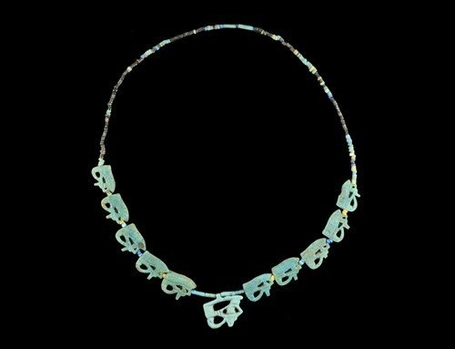 Egyptian Faience Amarna Period 'Eye of Horus' Necklace