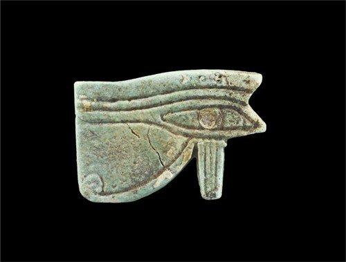 Egyptian Large Faience Eye of Horus Bead