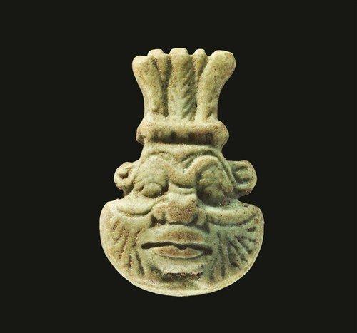 Egyptian Faience Head of Bes Bead