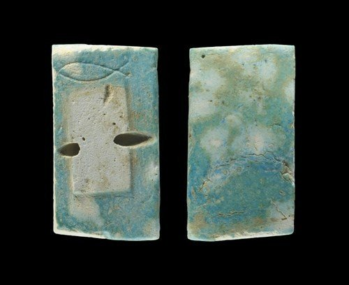 Egyptian Faience Inscribed-Fish Wall Panel