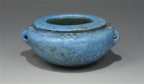 Egyptian Ptolemaic Blue Faience Jar