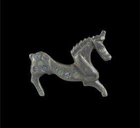 Roman Bronze Enamelled Horse Plate Brooch