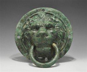 Roman Bronze Lion Mask Door Handle