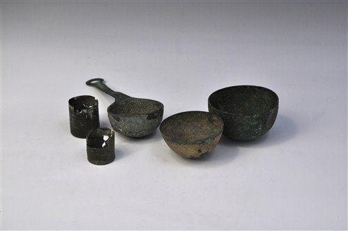 Roman Bronze Crucible and Inkwell Group