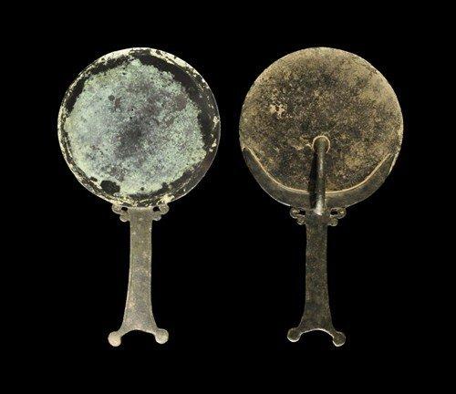Roman Bronze Handled Mirror