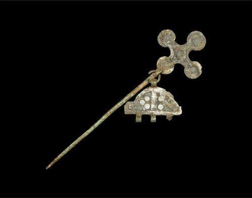 Viking Cruciform Dress Pin with Pendant