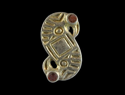 Merovingian Frankish Silver-Gilt S-Brooch