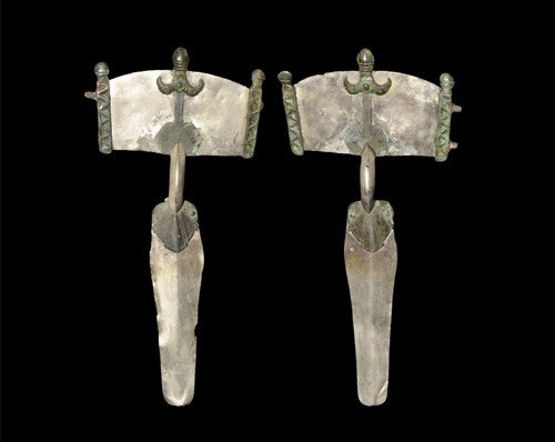 Gothic Silver and Bronze Aviform Bow Brooch Pair