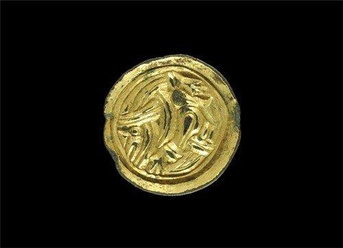 Anglo-Saxon Gilt-Bronze Button Brooch