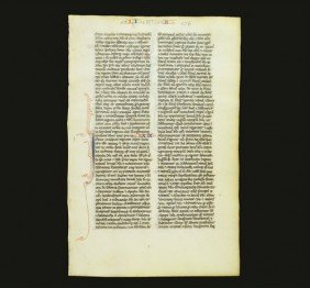 Medieval Vellum Manuscript French Bible Page