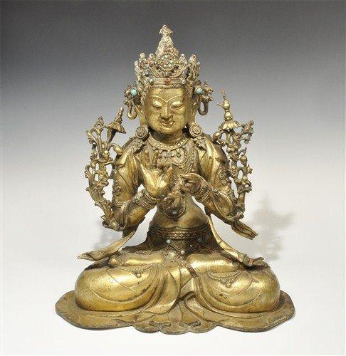 Chinese Gilt-Bronze Buddha Figurine