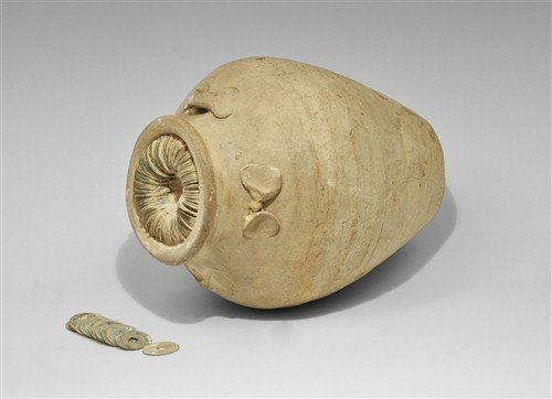 Far Eastern Hoard of Cash Coins in Vase